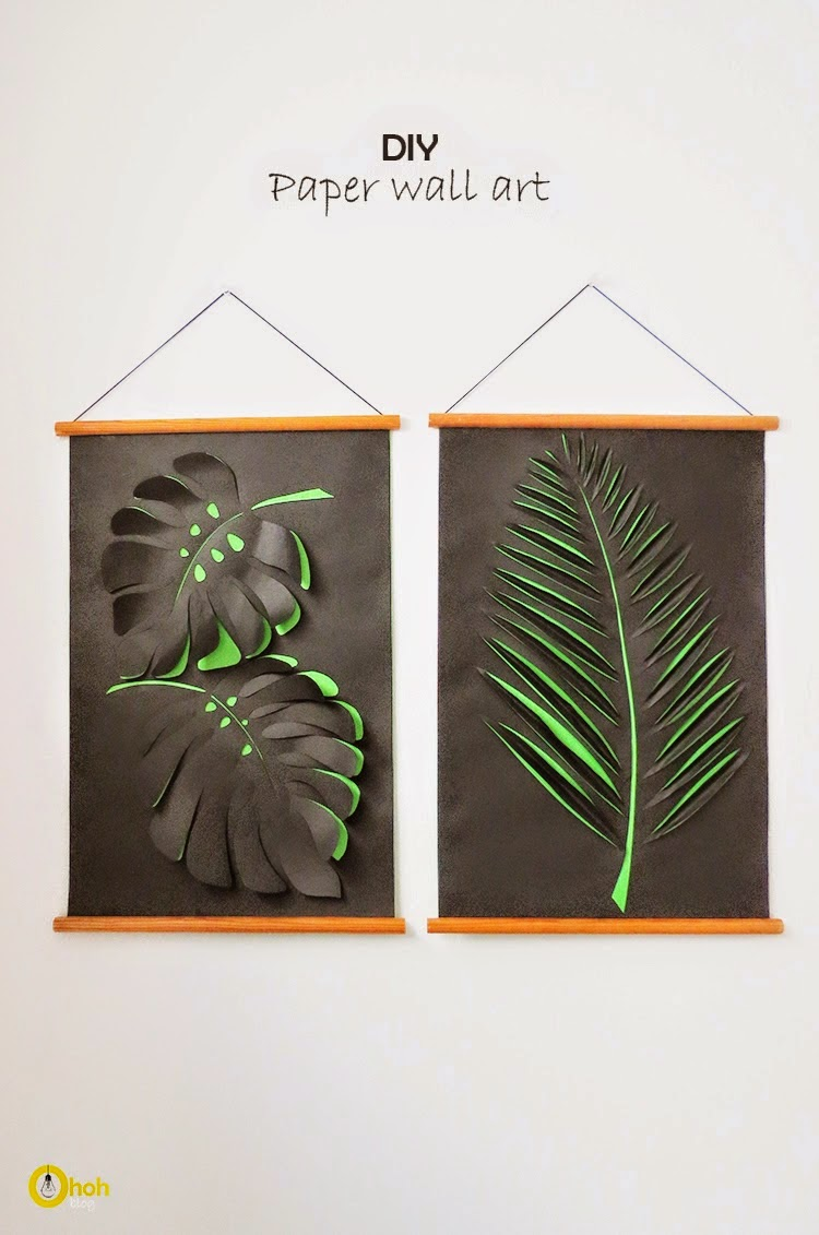 Diy paper leaf wall art diy craft projects for Art and craft for wall decoration