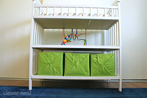 how to get tons more storage out of your changing table! easy diy fabric wrapped boxes #free #nursery #lime #hotglue