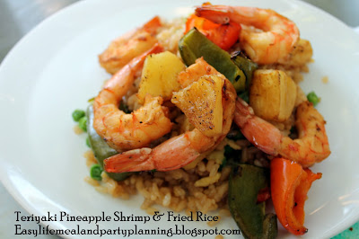Stir Fried Rice with Grilled Teriyaki Shrimp and Pineapple by Easy Life Meal & Party Planning