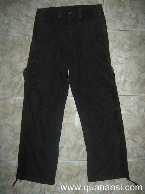 Quần kaki túi hộp màu đen lưng thun giá rẻ 200k