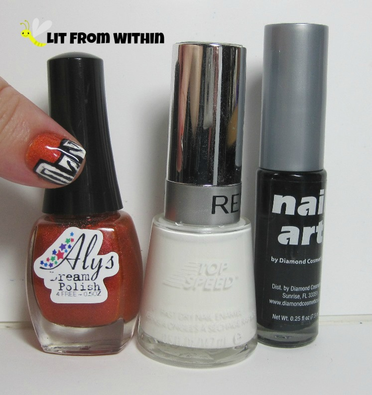 Bottle shot:  Aly's Dream Polish Persimmon, Revlon Spirit, black nail art striper.