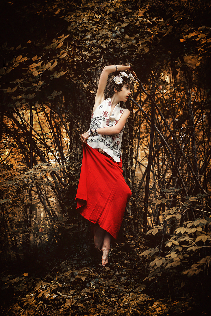 Photographie forêt, couronne de fleurs DIY, outfit of the day, Das Sheep fashion blog