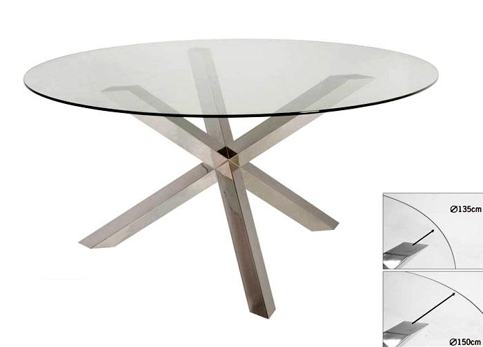 Fabricamos mesas decorativas de acero inoxidable for Mesas de comedor redondas de cristal