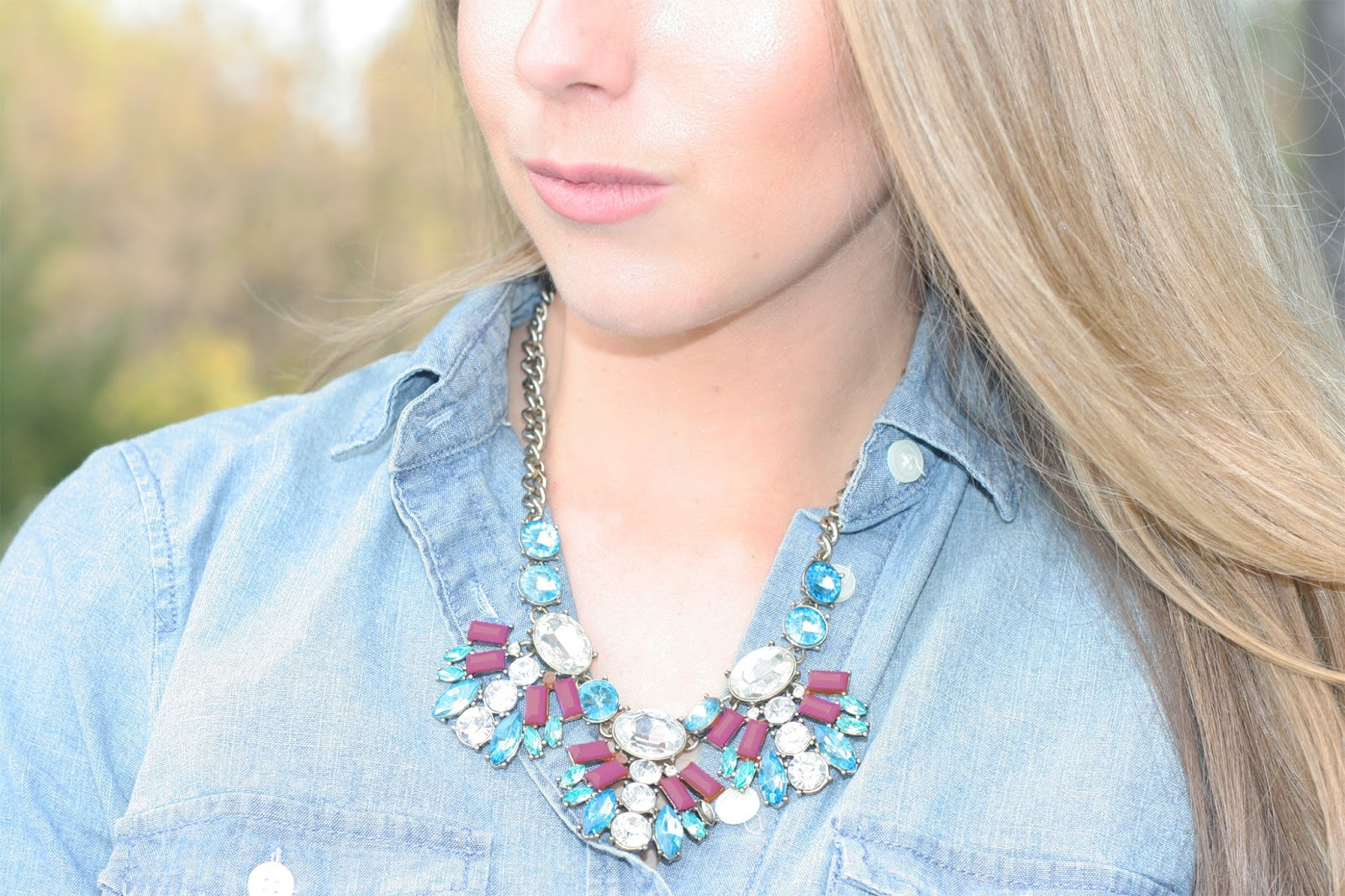 chambray-shirt-with-jewel-tone-necklace