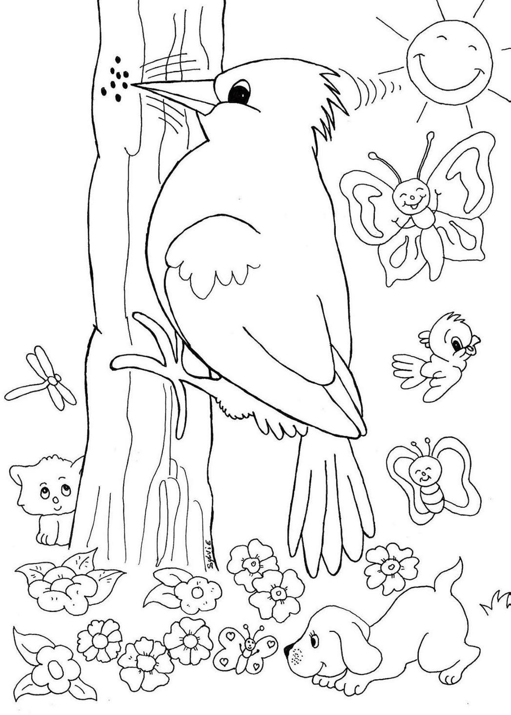 Desenho de passarinhos para colorir desenhos para colorir - Dessin de printemps ...