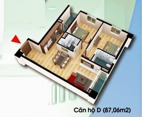 Căn hộ loại D - Chung Cư D2 CT2 Linh Đàm diện tích 87.06 m2