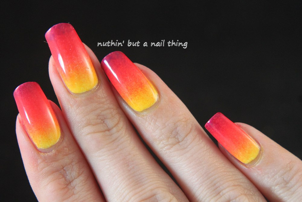 Tequilla Sunrise Gradient nail art