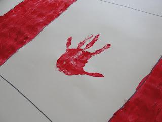 hand print canada day flag