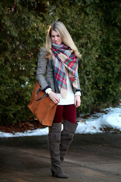 burgundy leggings, tweed blazer, and blanket scarf