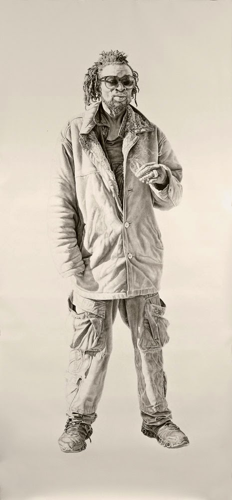 Nate / Buzzard luck, Charcoal and Graphite on Paper by Joel Daniel Phillips
