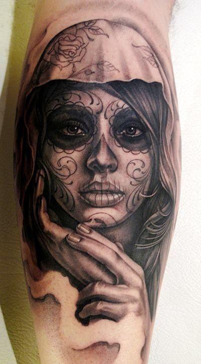 tatuaje de catrina en grises