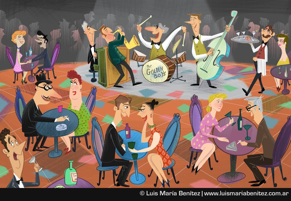 Jazz band illustration / Ilustración de banda de jazz © Luis María Benítez