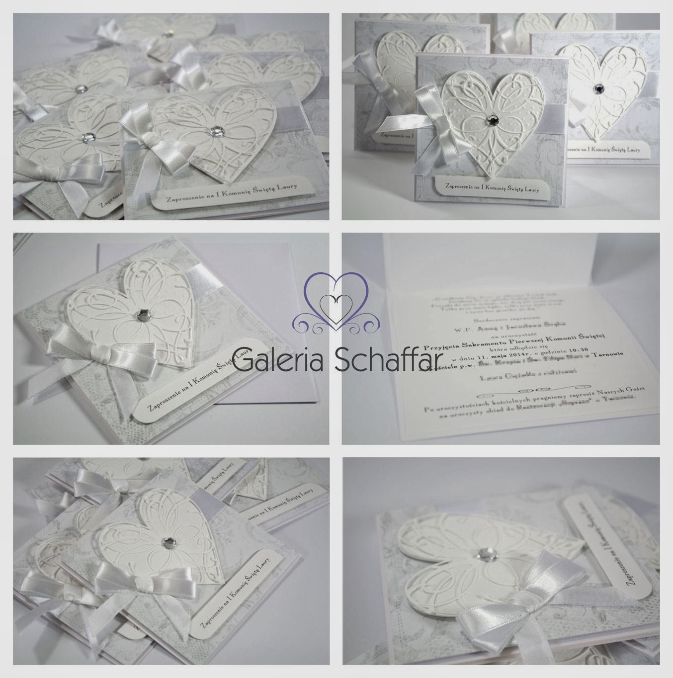 nietypowe ładne białe zaproszenia komunijne ślubne Galeria Schaffar