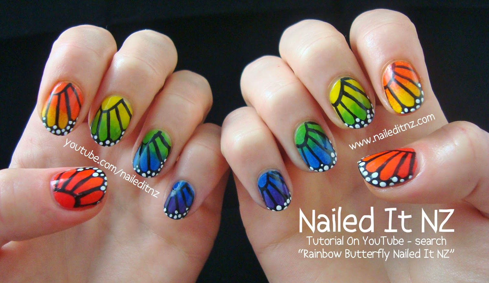 Tutorial   Rainbow Butterfly Nail Art