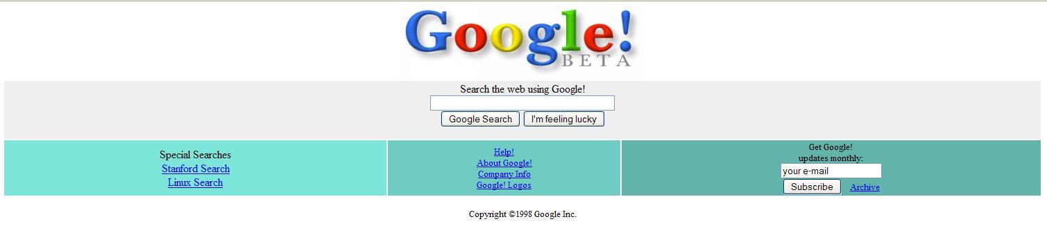 Google BETA in 1998-1999