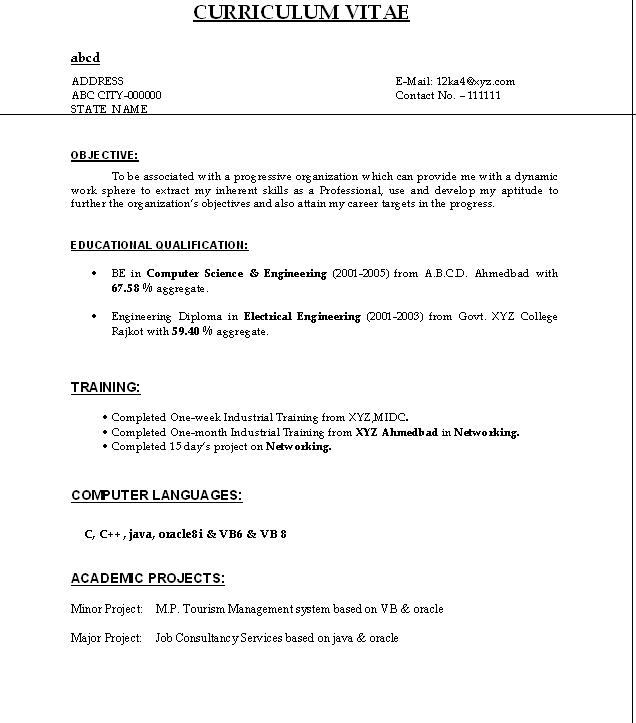 Resume For Freshers Job Tuesday, 19 July 2011