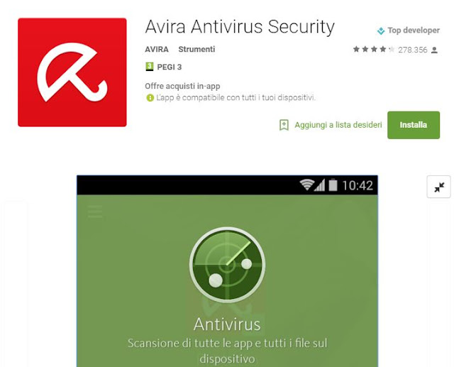 App gratis Antivirus Android: Avira Antivirus Security