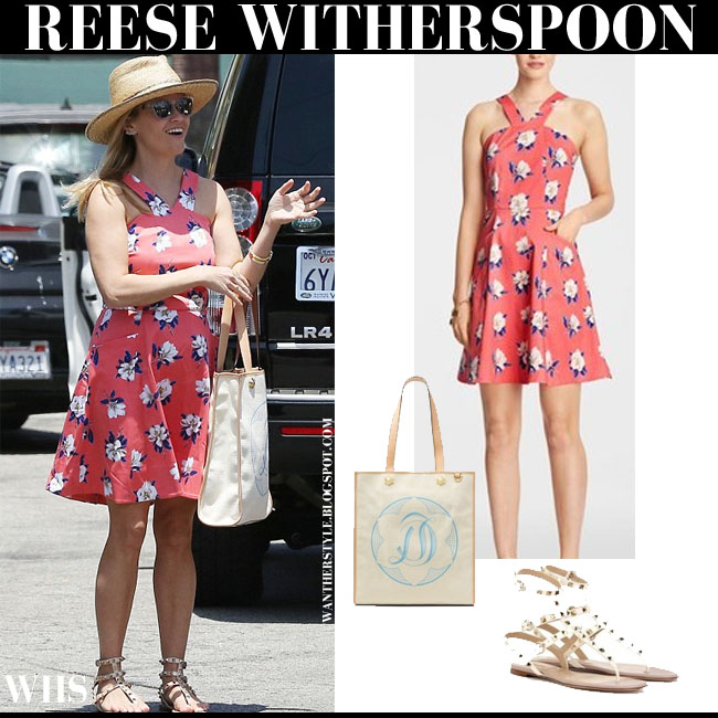 Reese Witherspoon in rose flower print mini dress from Draper James and Valentino gladiator sandals what she wore june 7