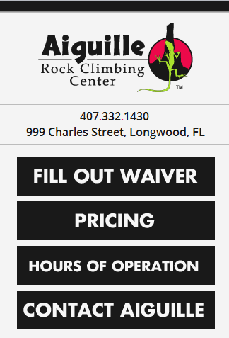 Aiguille Rock Climbing Center's mobile site