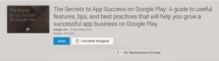 Google's release of the e-Book App Secrets to Success for novice developers or developer