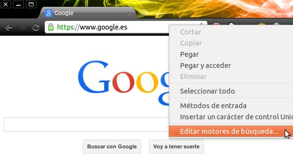 Omnibox > Click derecho > Editar motores de búsqueda...
