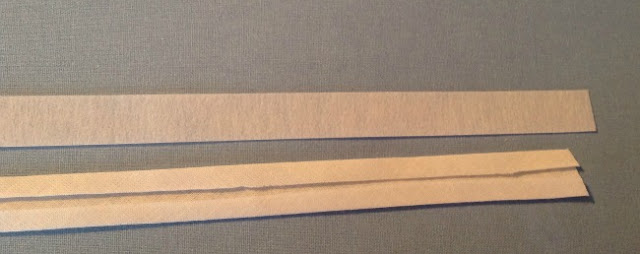 piece of Bondaweb and bias binding side by side
