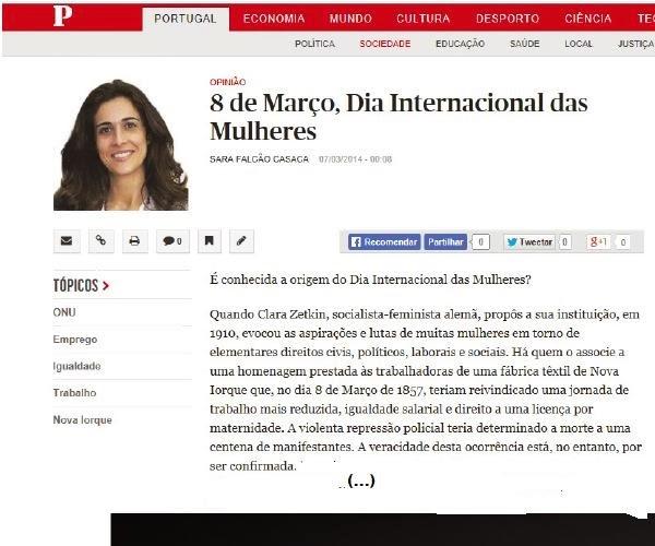 «8 DE MARÇO, DIA INTERNACIONAL DAS MULHERES» | Sara Falcão Casaca