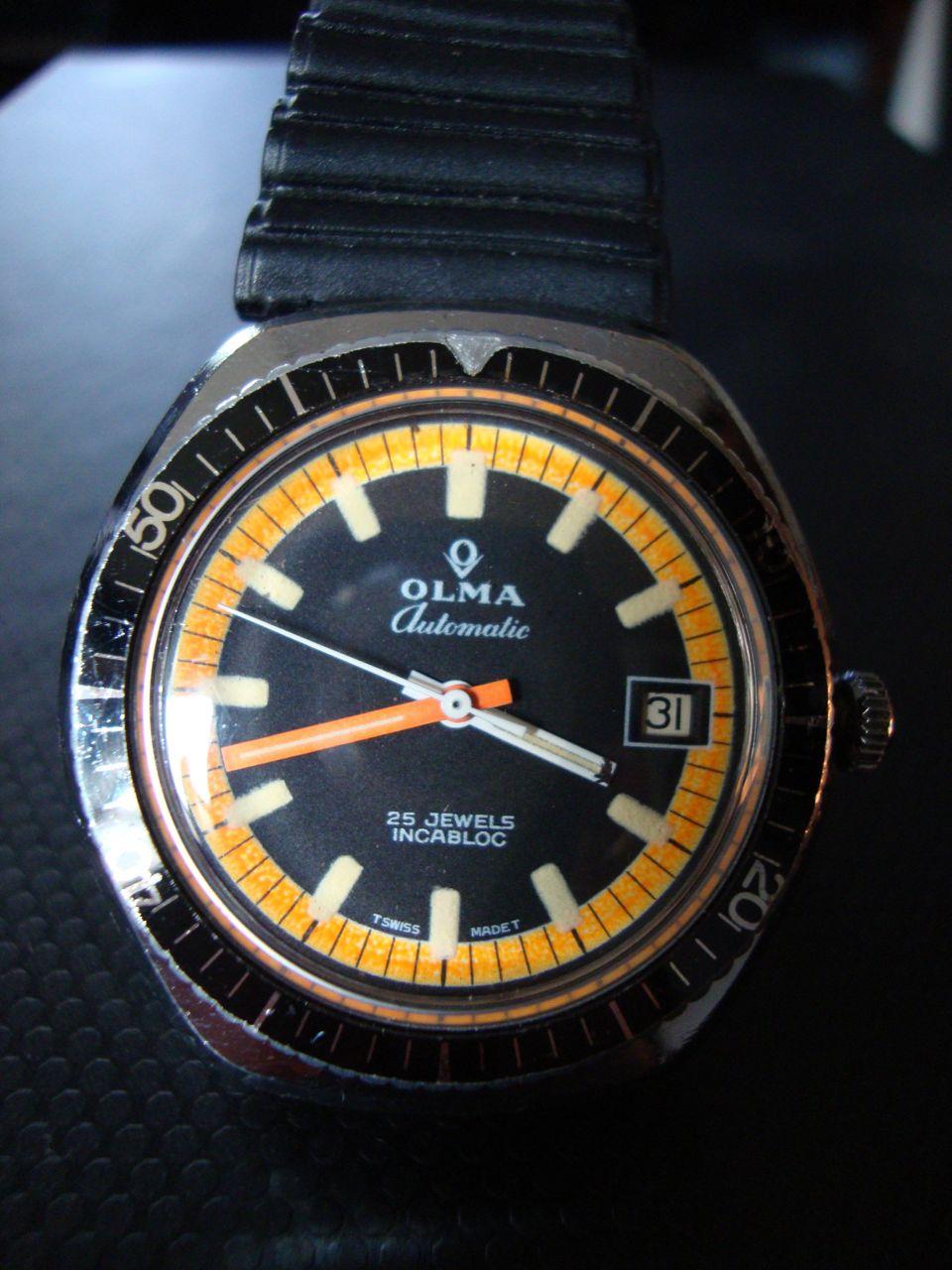 La vintage time olma black and orange diver - Orange dive watch ...