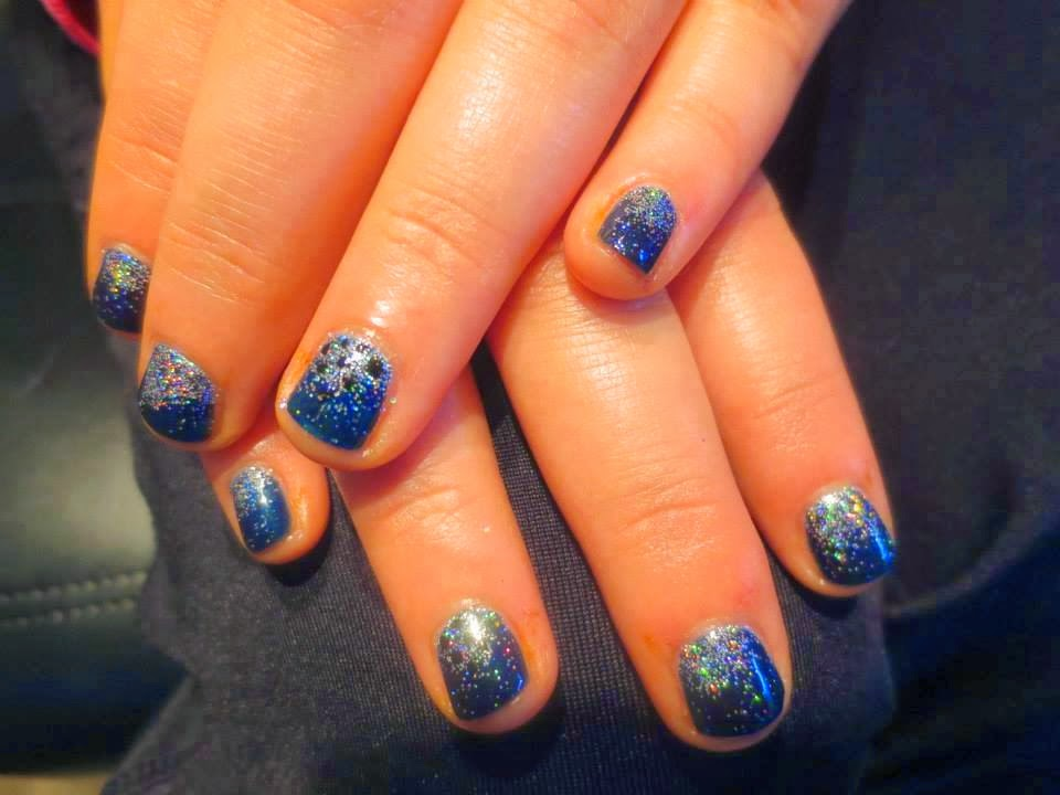 Galaxy designed gel-color Manicure custom gel-color glitz mix and tapped in silver reflector glitz