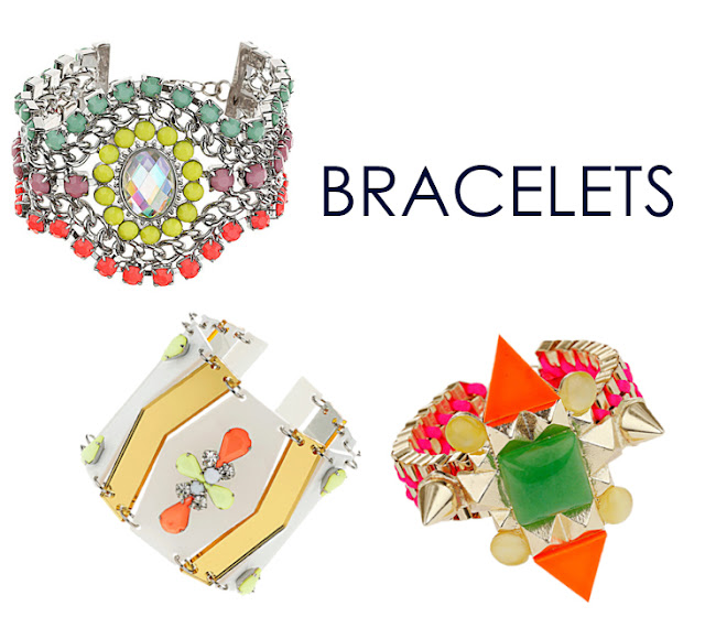 topshop, jewelry, spring, neon, color, rhinestones, bracelets, spikes, triangles, geometric, cuff