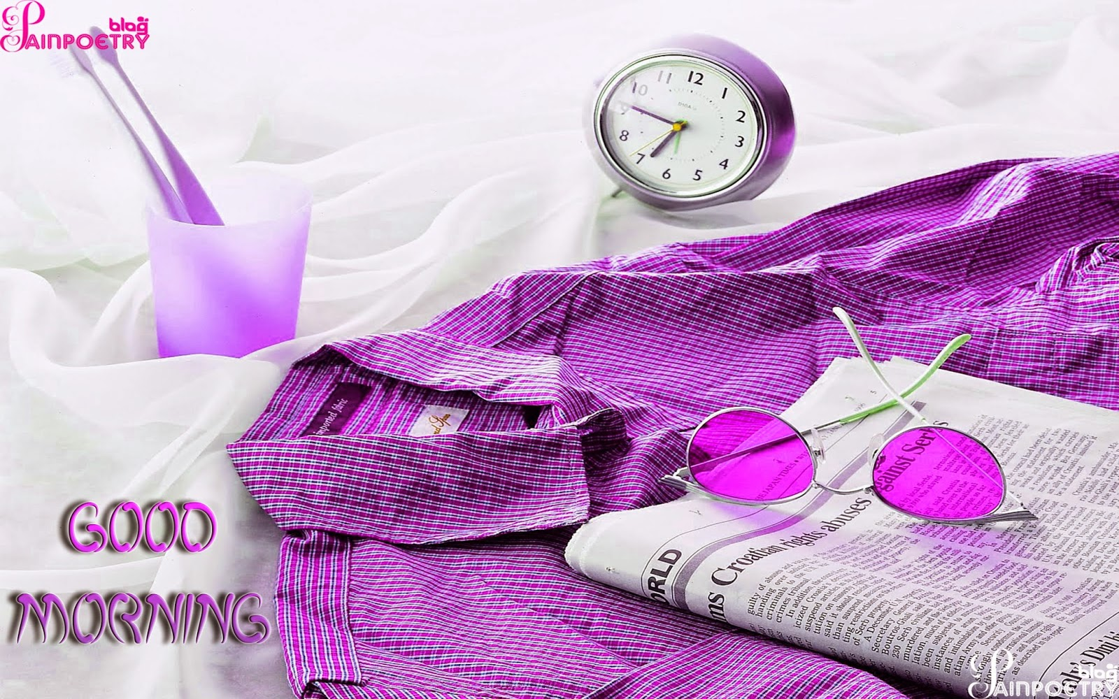 Good-Morning-Wishes-wallpaper-A-Nice-Day-With-Shirt-And-Book-Near-The-Clock-And-Glass-Wide