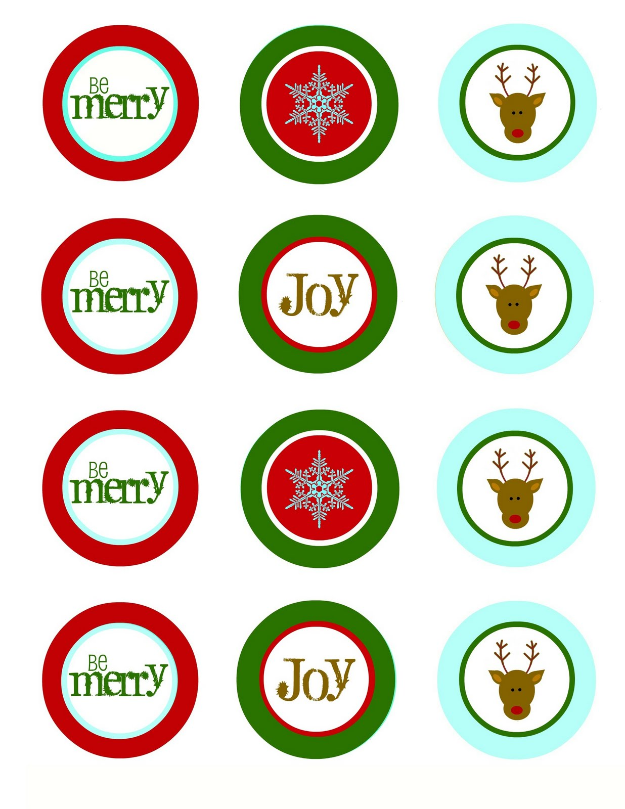 or you could use some as cupcake toppers and print a second sheet as favorgift tags let your imagination run wild - Christmas Toppers