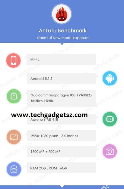 Spesifikasi Xiaomi MI 4C muncul di AnTuTu dan Tenaa, bawa chipset Snapdragon 808