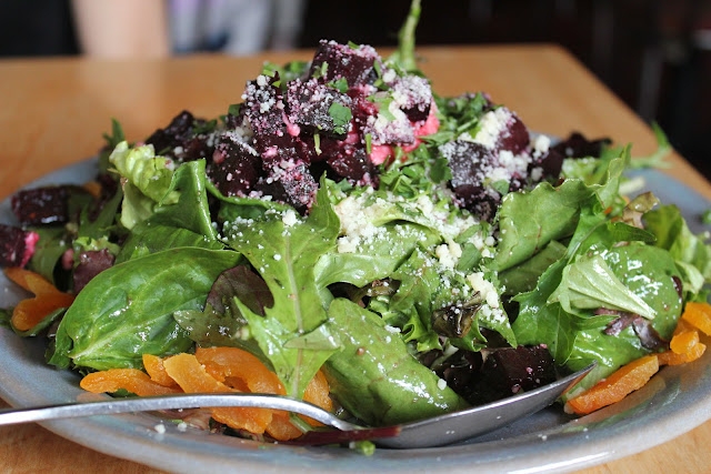 Mixed greens salad at Sweet Basil, Needham, Mass.