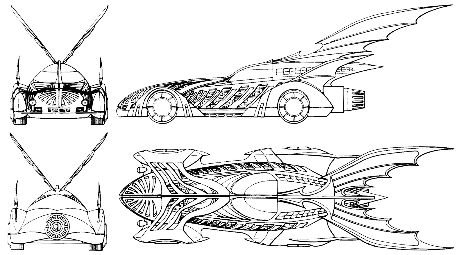 The dork review rob 39 s room batmobile blueprints for Batmobile coloring pages