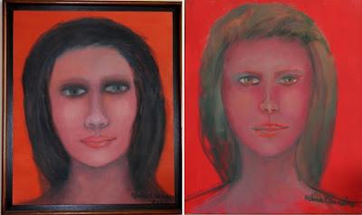 Duas telas pintadas com o fundo previamente preparado com tinta vermelha, Artista plástica Elma Carneiro