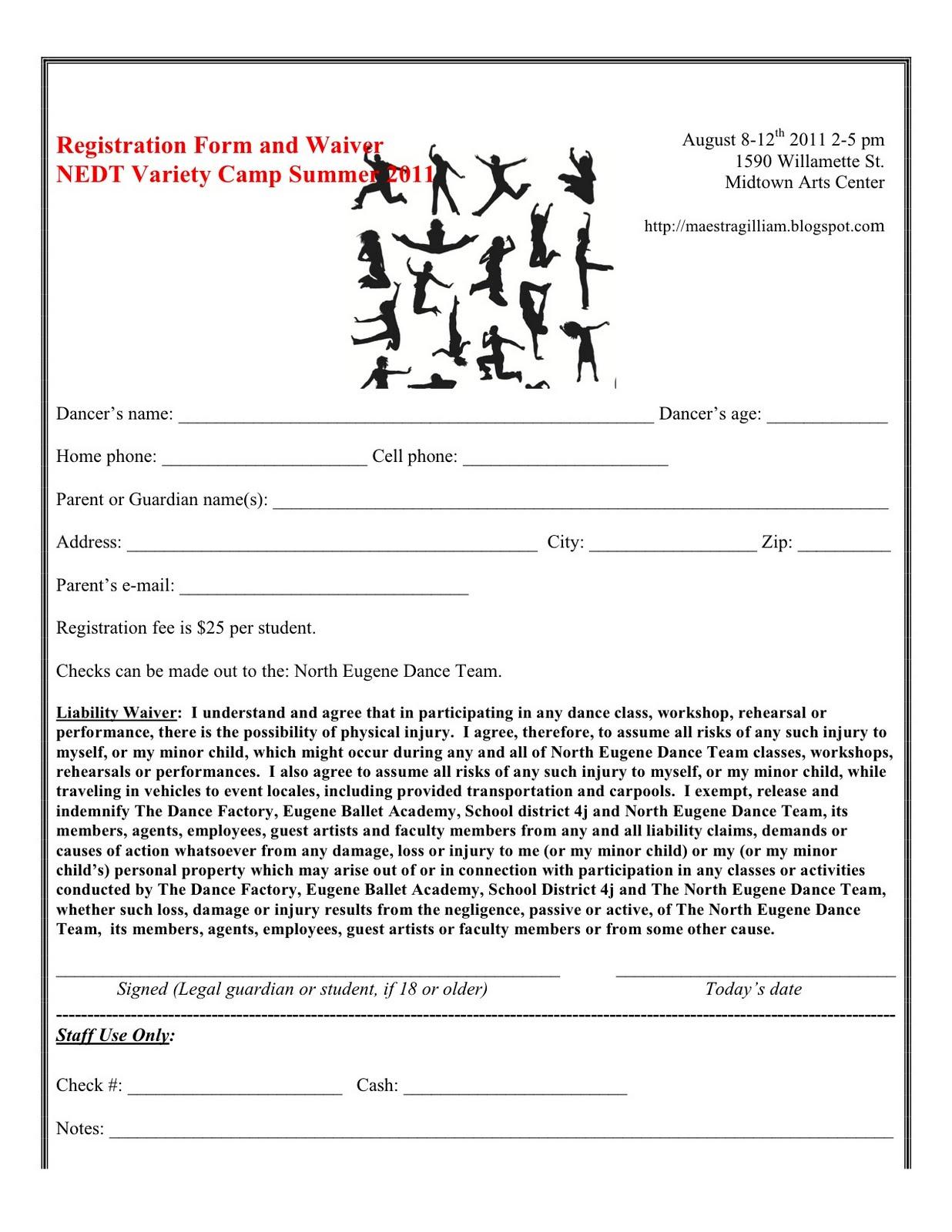 Dance Application Form Timiznceptzmusic
