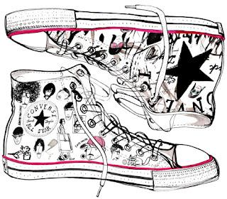 Desenho como desenhar Os Tênis allstar e Nike pintar e colorir