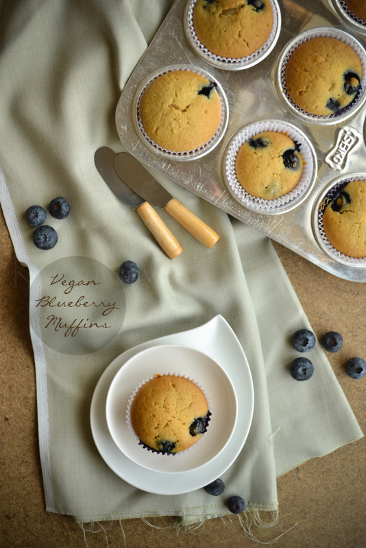 Eggless blueberry muffins with fresh blueberries