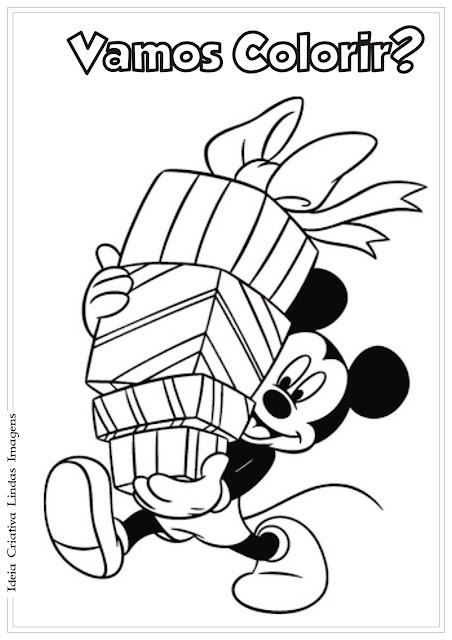 Mickey com presentes de Natal para colorir