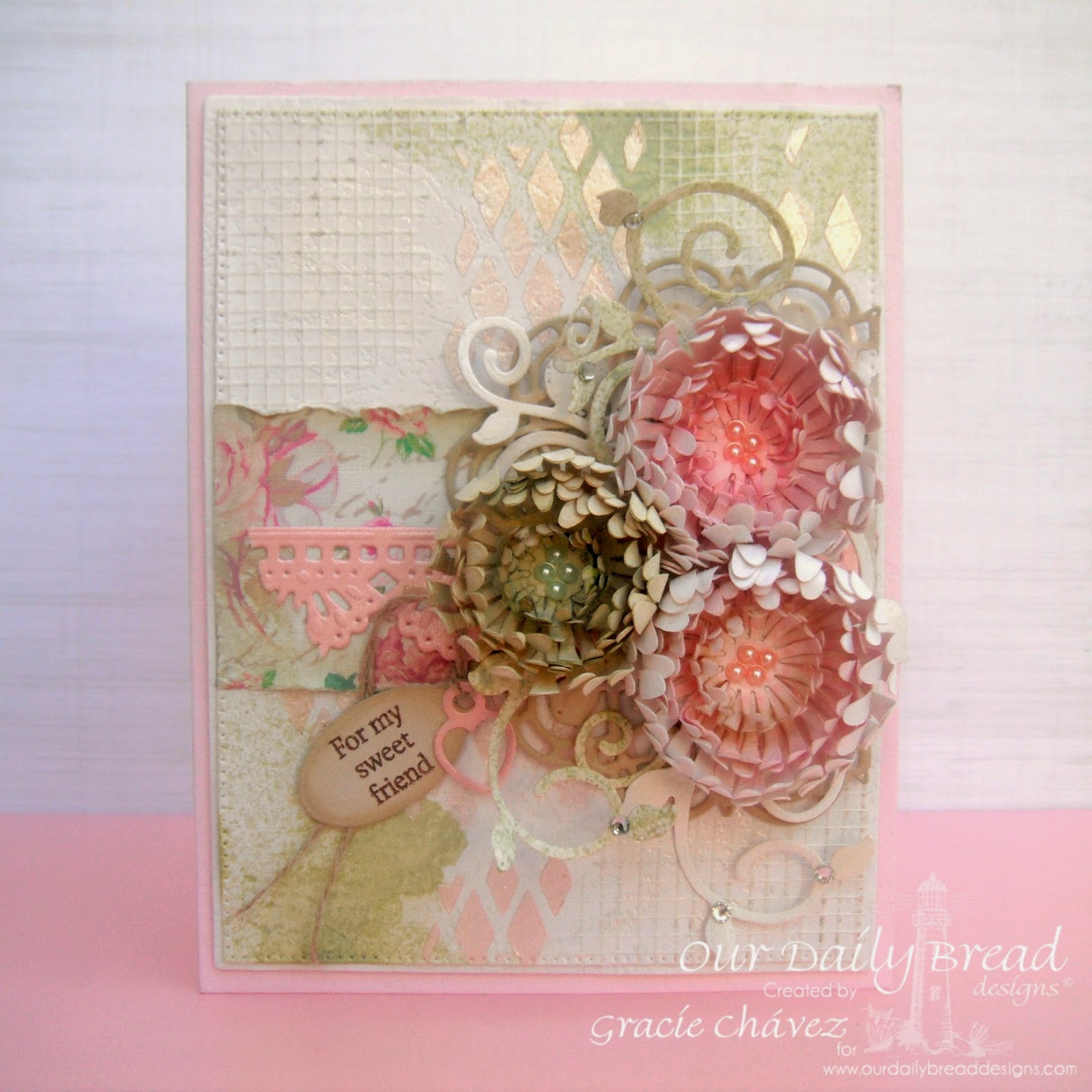 Our Daily Bread Designs, Aster Dies, Fancy Foliage, Beautiful Borders, Mini Tag Dies, Doily Dies, Mini Tag Sentiments, Flourished Star Pattern, Designed by Gracie Chávez