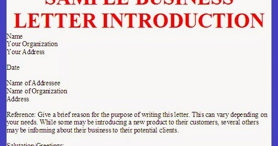 Business letter sample business letter introduction spiritdancerdesigns Gallery