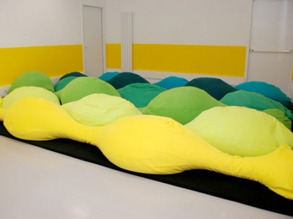 Homebuildlife hbl events les m creates giant pillow for childrens of les m design studio have created an environment which is soft and bright with the introduction of pillow an interactive giant floor cushion tyukafo