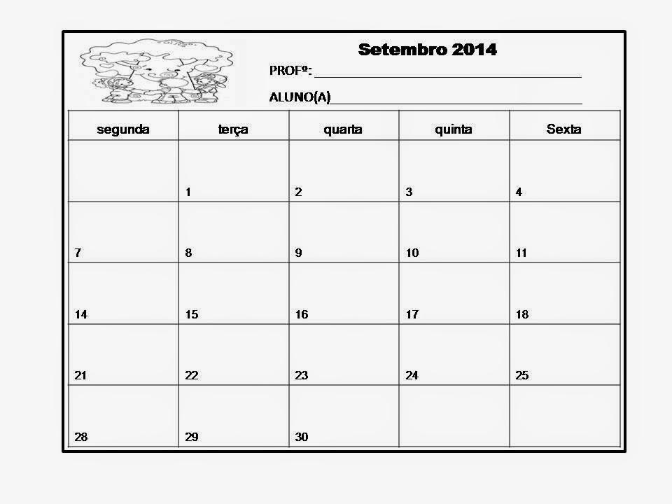 Calendário de Setembro 2014