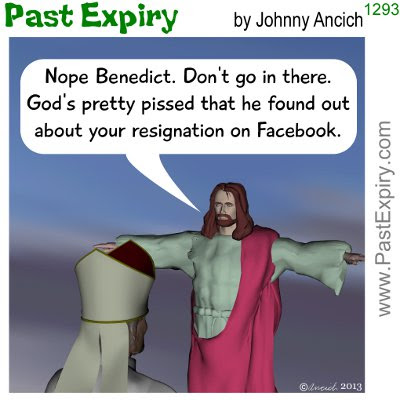 Cartoon about religion, Facebook, news, social networking,