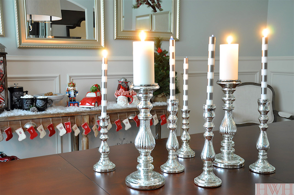 Mercury glass candlesticks & festive holiday decor | Honey We're Home
