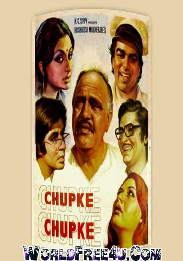 Poster Of Bollywood Movie Chupke Chupke (1975) 300MB Compressed Small Size Pc Movie Free Download worldfree4u.com