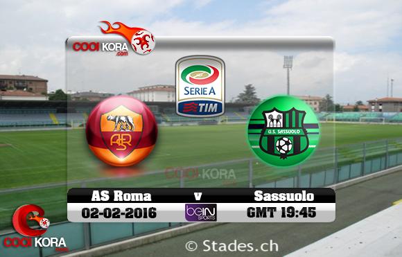 مشاهدة مباراة ساسولو وروما اليوم 2-2-2016 في الدوري الإيطالي