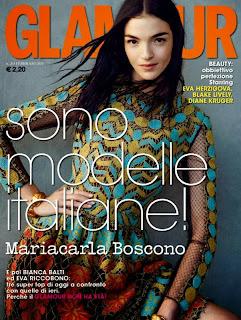 Magazine Cover : Mariacarla Boscono Magazine Photoshoot Pics on Glamour Magazine Italy February 2014