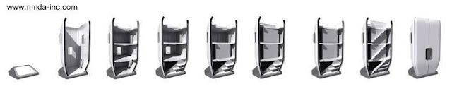 Imágenes de corte de una vivienda compacta prefabricada